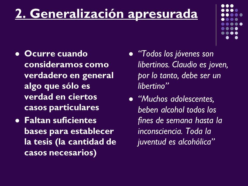 2. Generalización apresurada