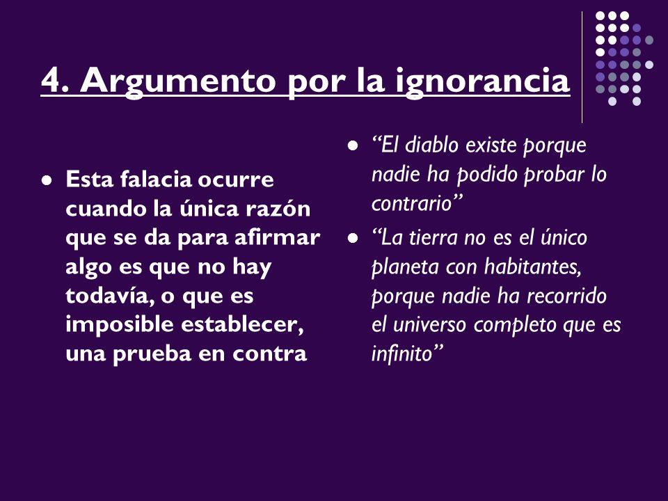 4. Argumento por la ignorancia