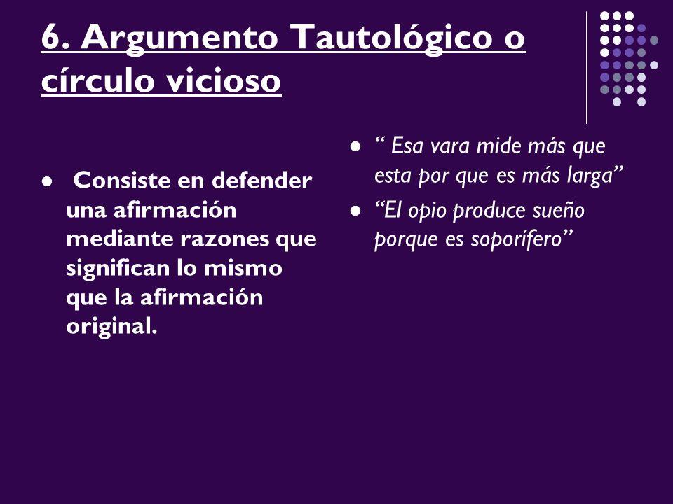 6. Argumento Tautológico o círculo vicioso