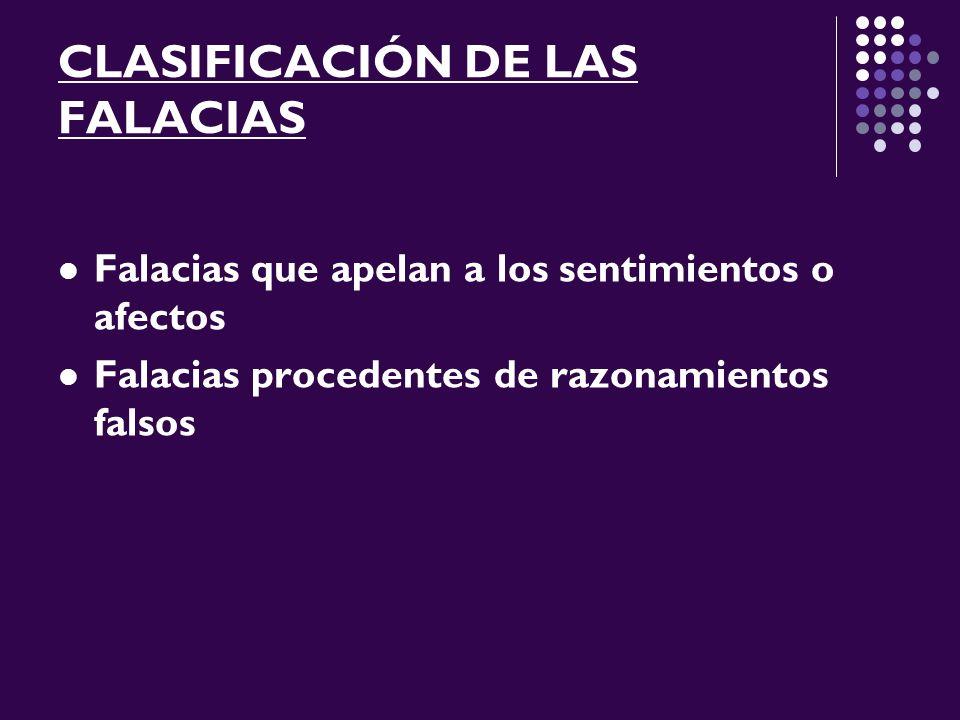 CLASIFICACIÓN DE LAS FALACIAS