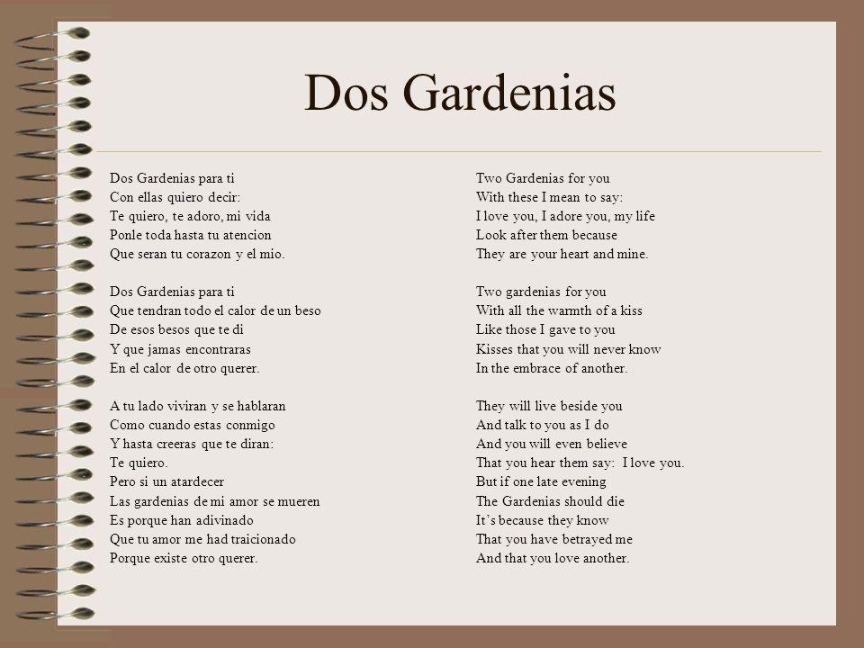 Dos Gardenias Dos Gardenias para ti Con ellas quiero decir: