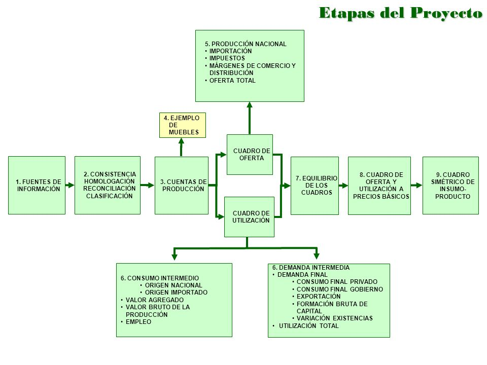 Etapas del Proyecto 5. PRODUCCIÓN NACIONAL. IMPORTACIÓN. IMPUESTOS. MÁRGENES DE COMERCIO Y DISTRIBUCIÓN.