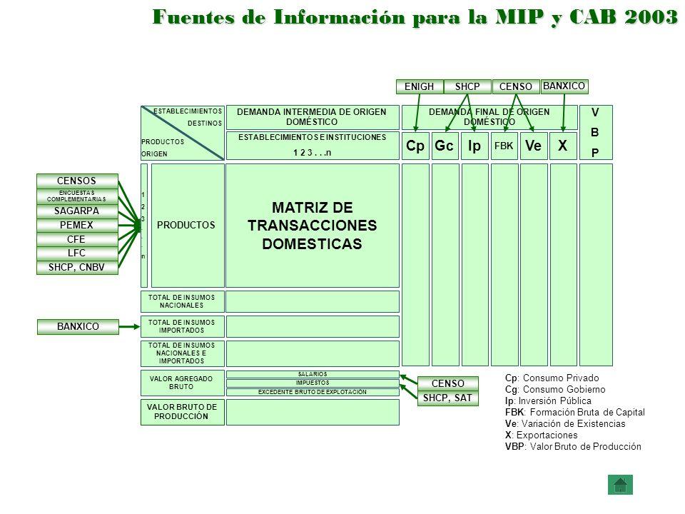 Fuentes de Información para la MIP y CAB 2003