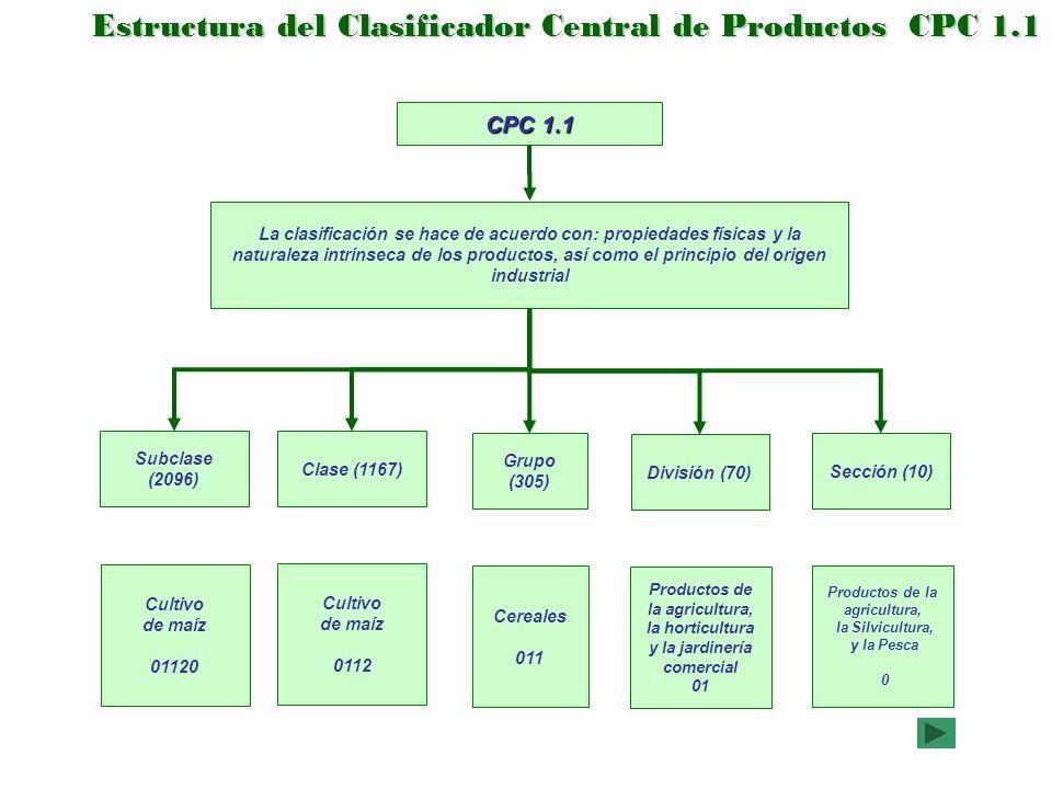 Estructura del Clasificador Central de Productos CPC 1.1