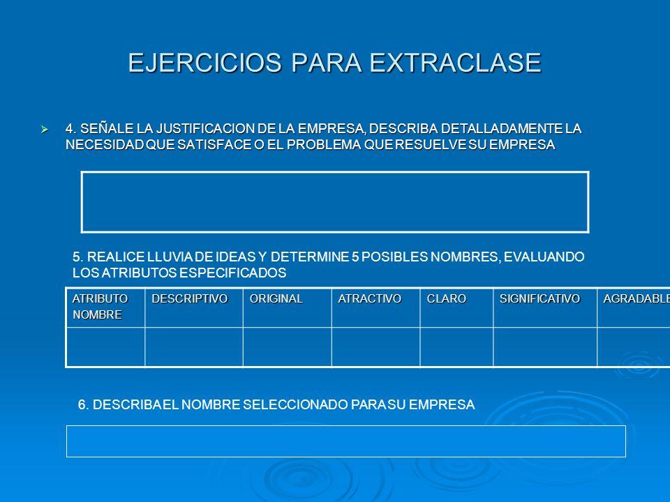 EJERCICIOS PARA EXTRACLASE
