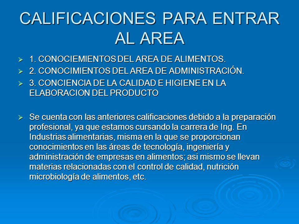 CALIFICACIONES PARA ENTRAR AL AREA