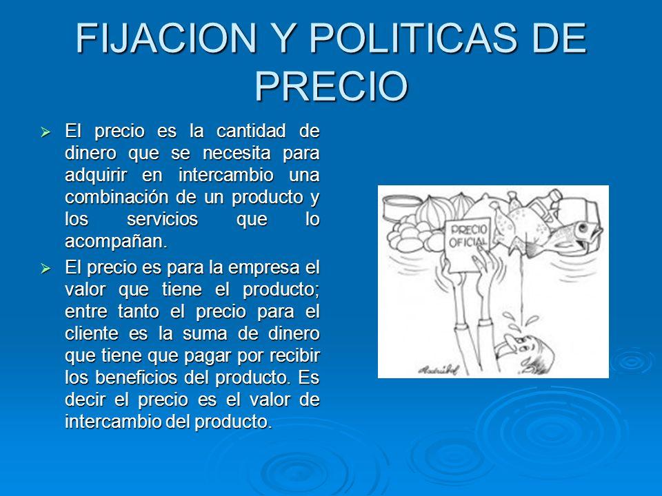 FIJACION Y POLITICAS DE PRECIO