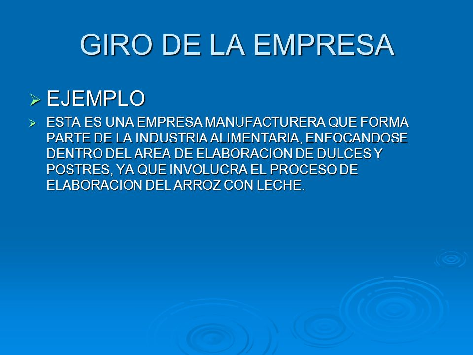 GIRO DE LA EMPRESA EJEMPLO