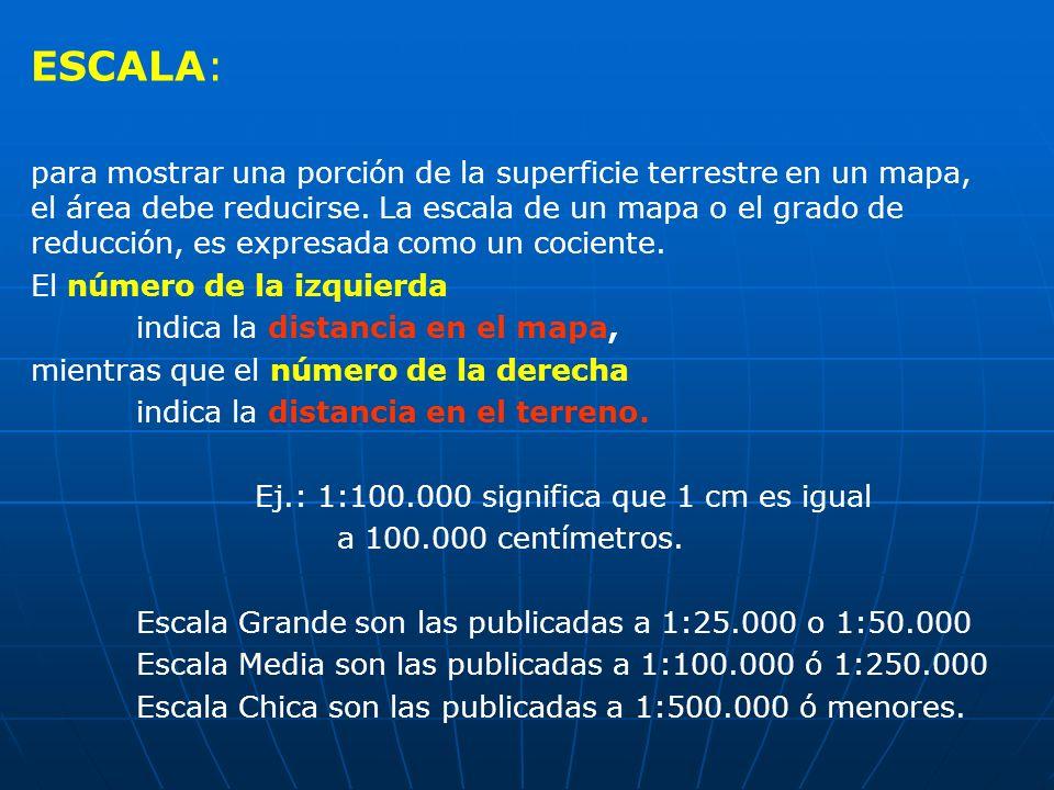 Ej.: 1:100.000 significa que 1 cm es igual