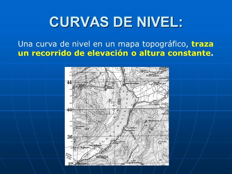 CURVAS DE NIVEL: Una curva de nivel en un mapa topográfico, traza un recorrido de elevación o altura constante.