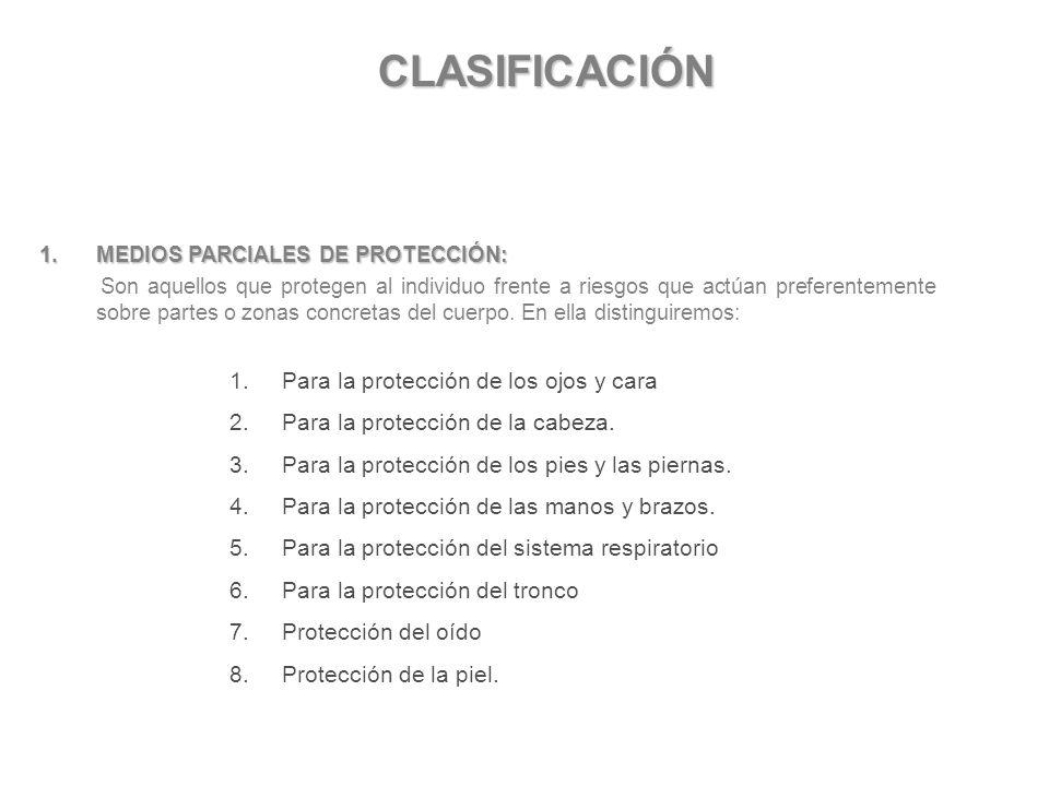 CLASIFICACIÓN Para la protección de los ojos y cara