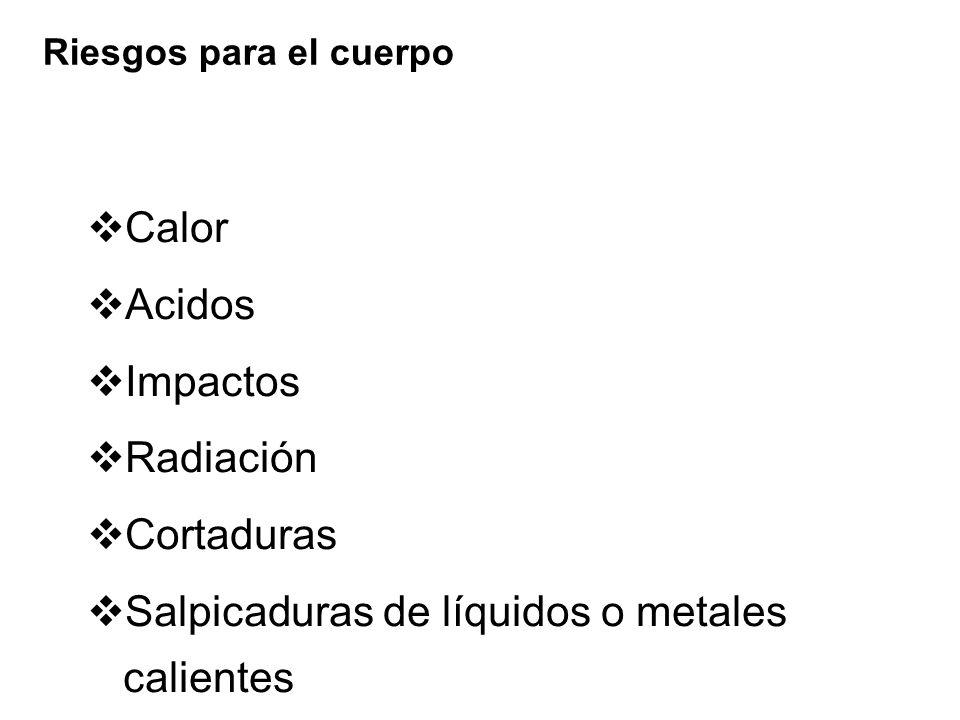 Salpicaduras de líquidos o metales calientes