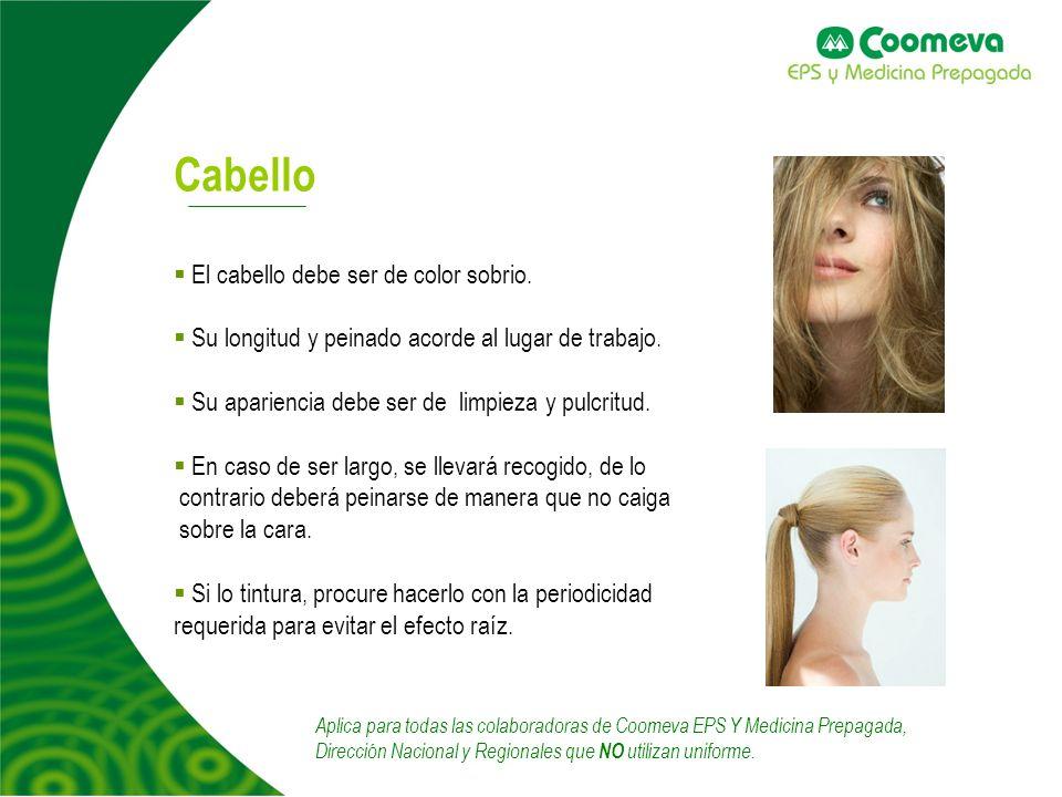 4 Cabello El cabello debe ser de color sobrio.