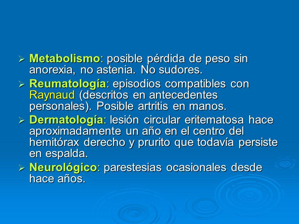 Metabolismo: posible pérdida de peso sin anorexia, no astenia