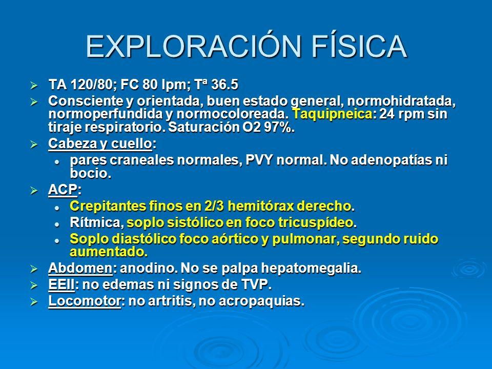 EXPLORACIÓN FÍSICA TA 120/80; FC 80 lpm; Tª 36.5