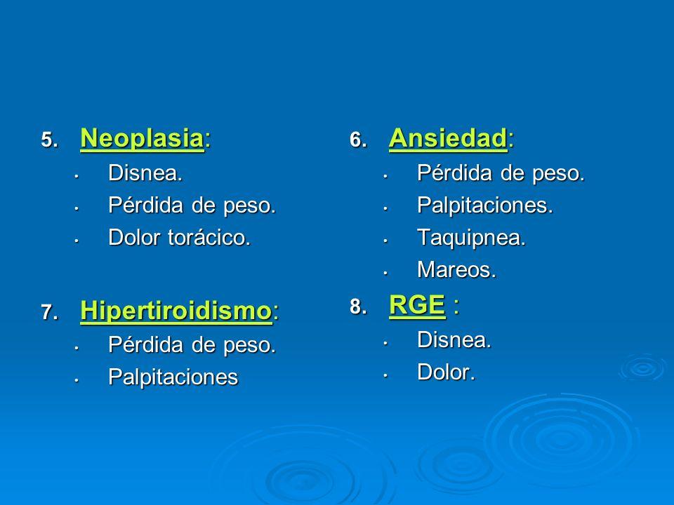 Neoplasia: Hipertiroidismo: Ansiedad: RGE : Disnea. Pérdida de peso.