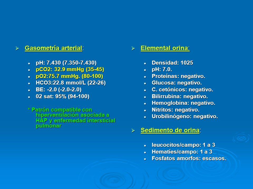 Gasometría arterial: Elemental orina: Sedimento de orina: