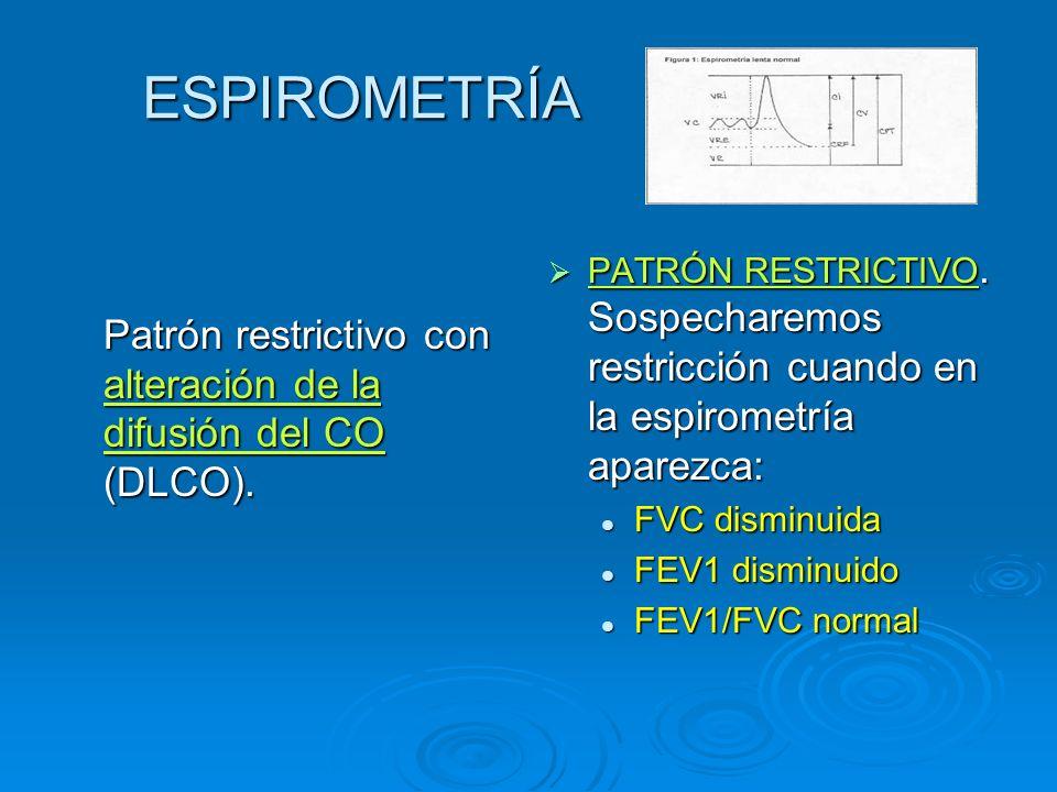 ESPIROMETRÍA Patrón restrictivo con alteración de la difusión del CO (DLCO).