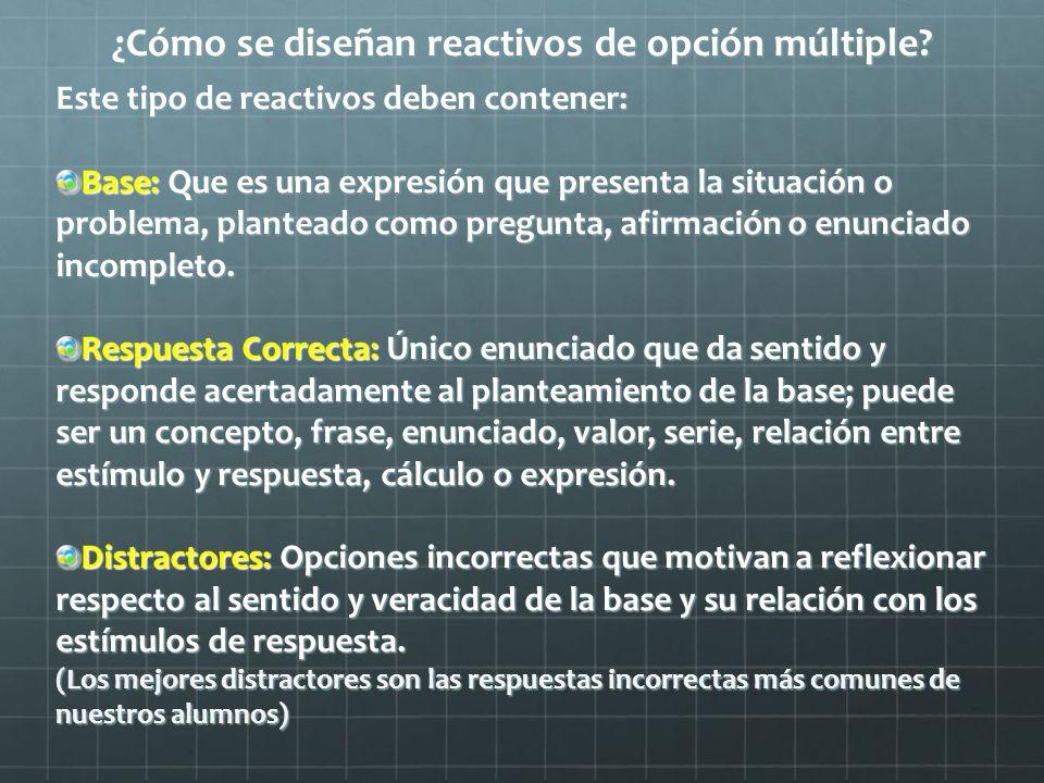 ¿Cómo se diseñan reactivos de opción múltiple