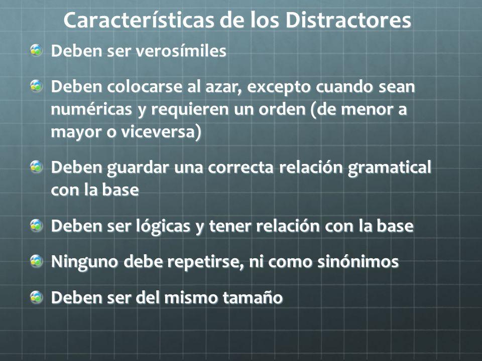 Características de los Distractores