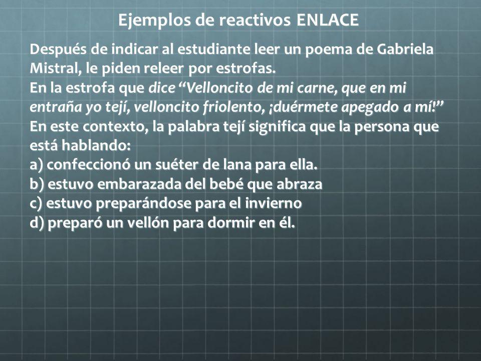 Ejemplos de reactivos ENLACE