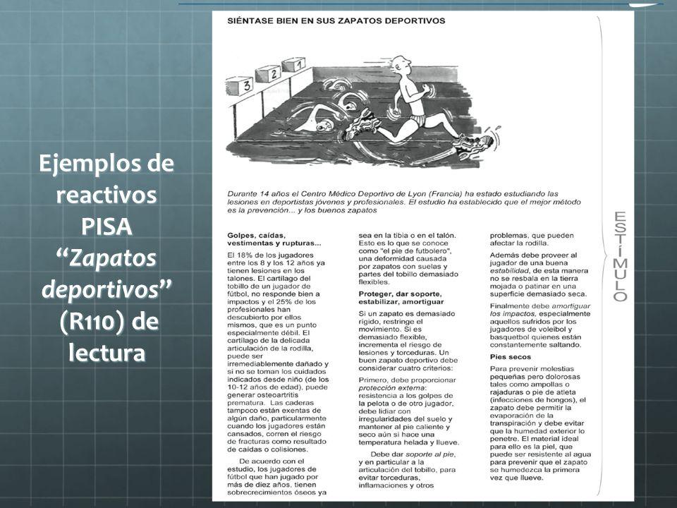 Ejemplos de reactivos PISA Zapatos deportivos (R110) de lectura