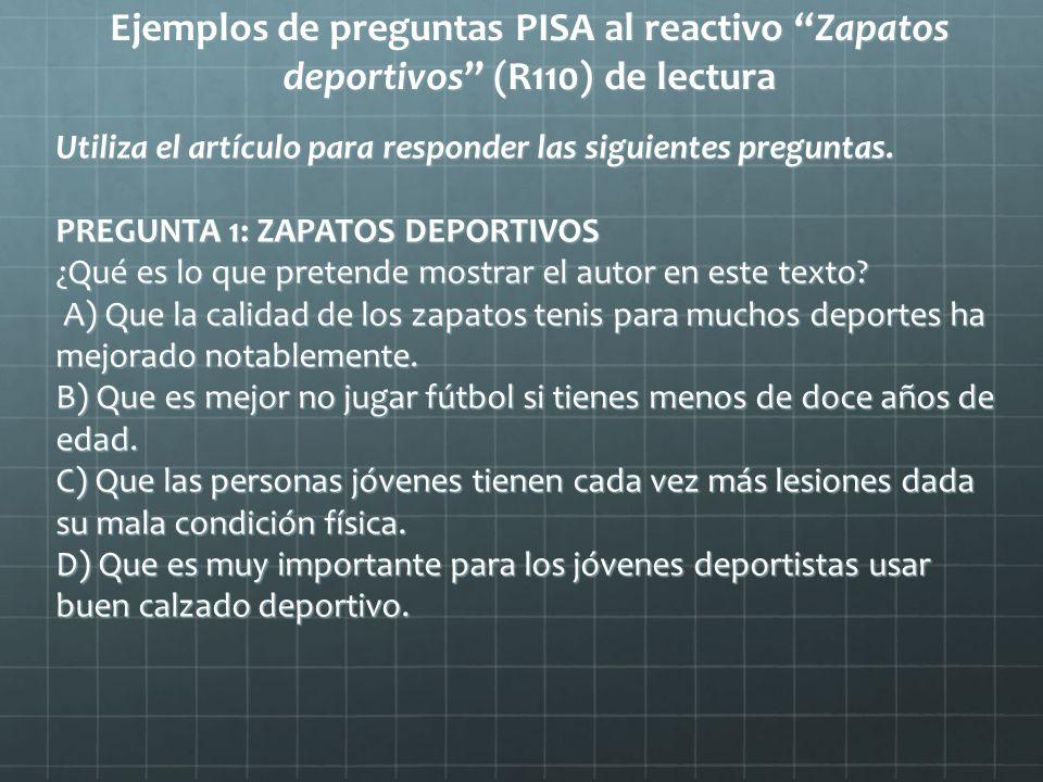 Ejemplos de preguntas PISA al reactivo Zapatos deportivos (R110) de lectura