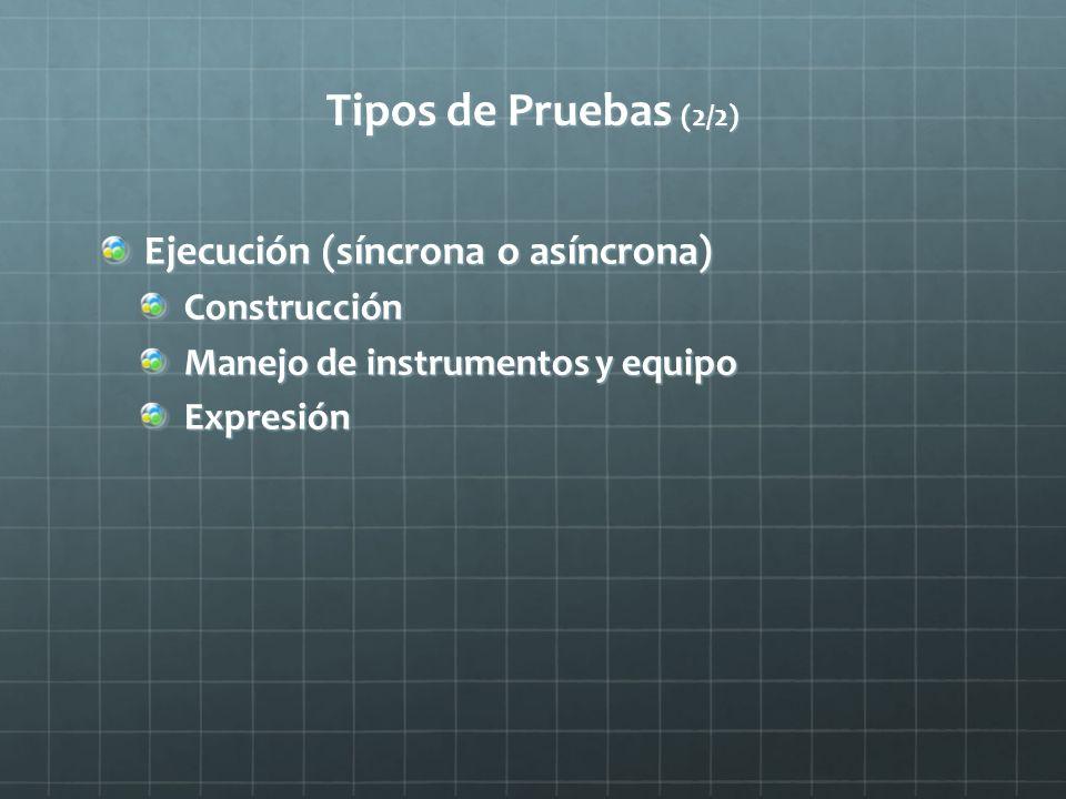 Tipos de Pruebas (2/2) Ejecución (síncrona o asíncrona) Construcción