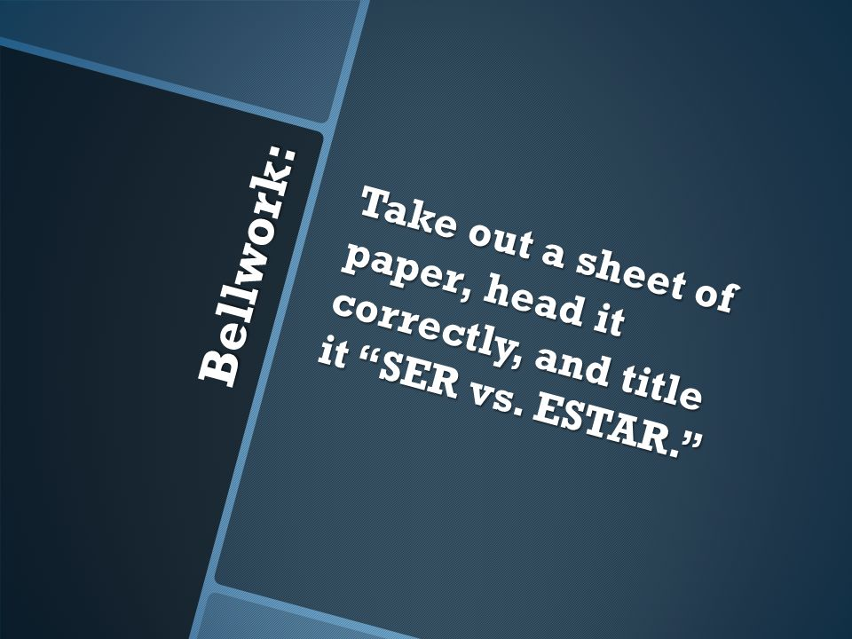 Take out a sheet of paper, head it correctly, and title it SER vs