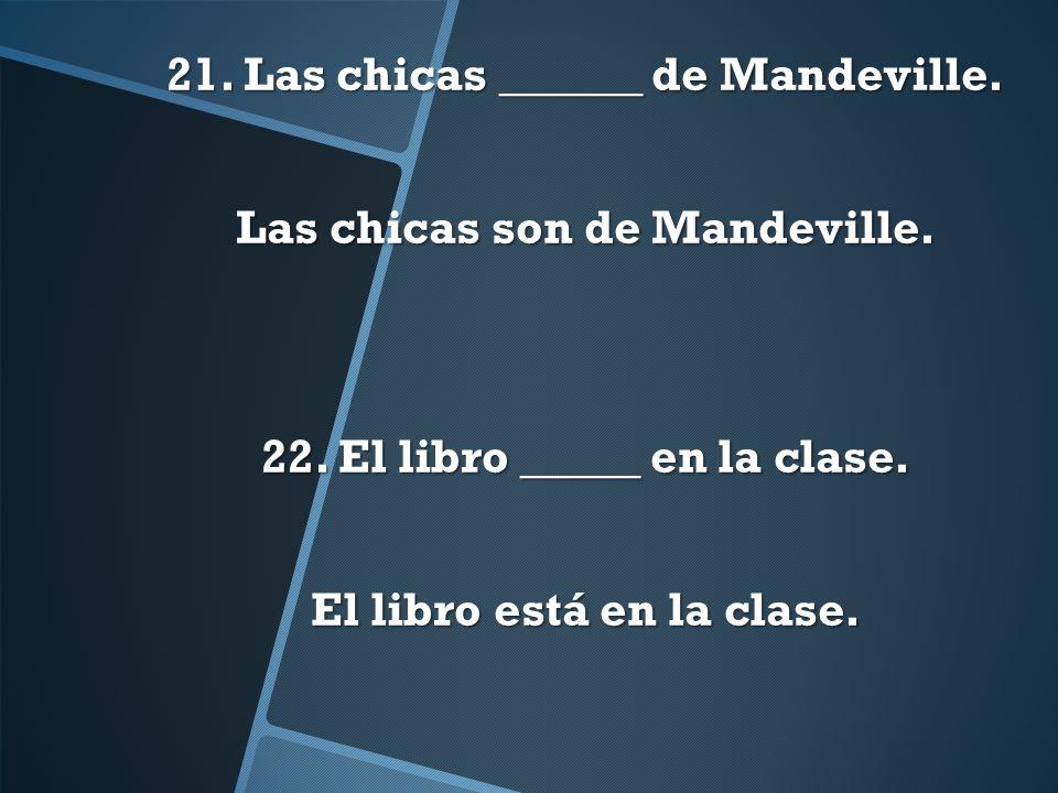 21. Las chicas ______ de Mandeville. Las chicas son de Mandeville. 22