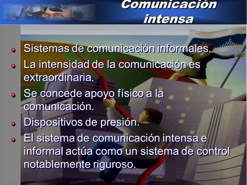 Comunicación intensa Sistemas de comunicación informales.