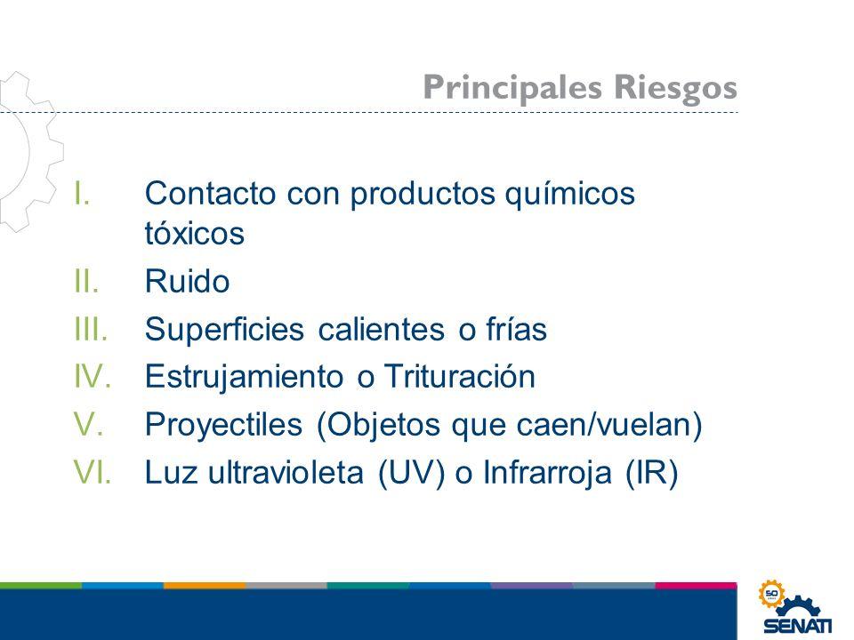 Principales Riesgos Contacto con productos químicos tóxicos Ruido
