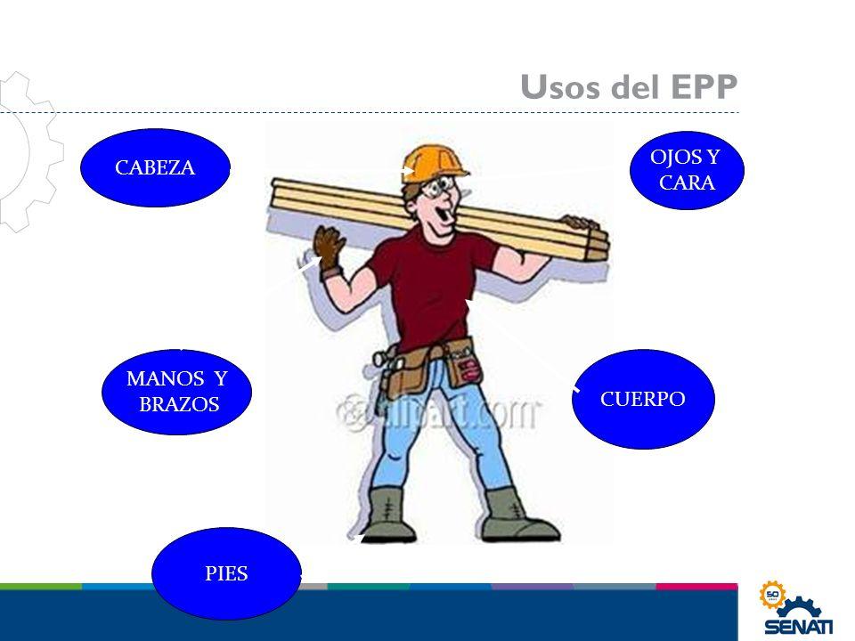 Usos del EPP CABEZA OJOS Y CARA MANOS Y BRAZOS CUERPO PIES
