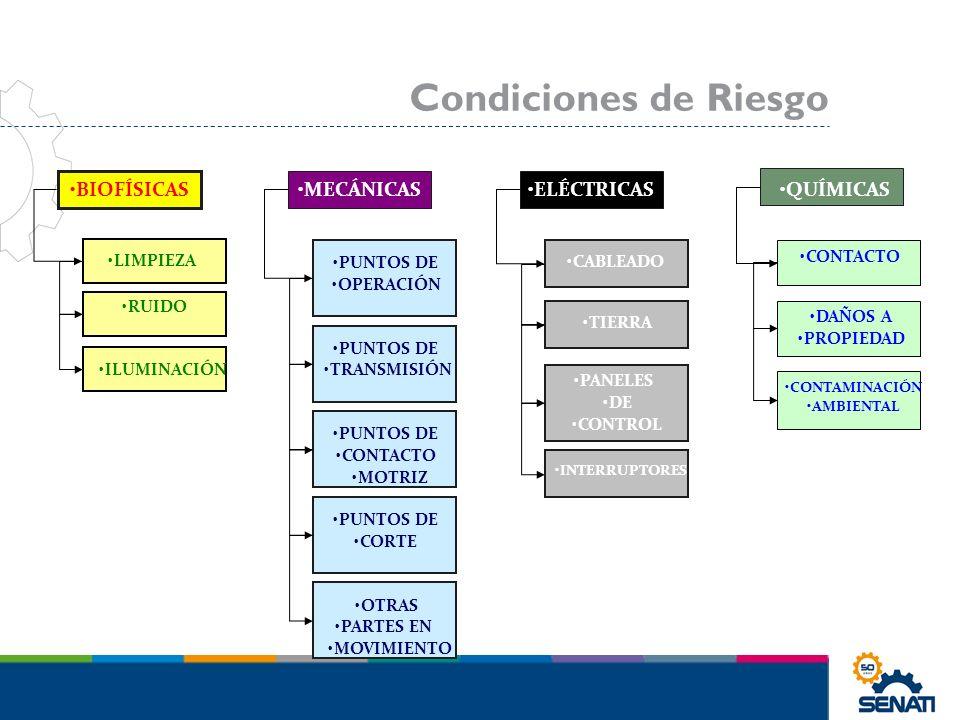 Condiciones de Riesgo BIOFÍSICAS MECÁNICAS ELÉCTRICAS QUÍMICAS