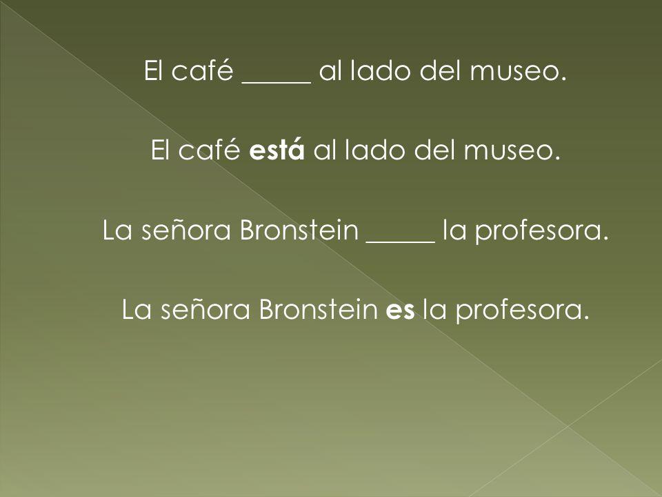 El café _____ al lado del museo. El café está al lado del museo