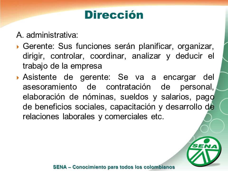 Dirección A. administrativa: