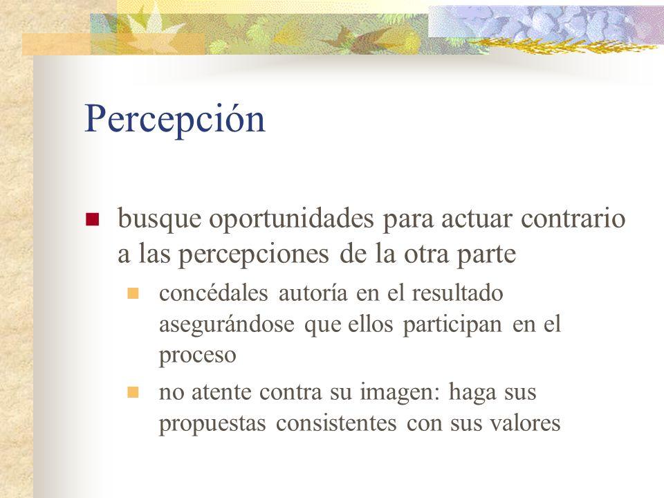 Percepción busque oportunidades para actuar contrario a las percepciones de la otra parte.