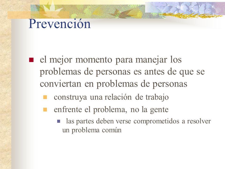 Prevención el mejor momento para manejar los problemas de personas es antes de que se conviertan en problemas de personas.