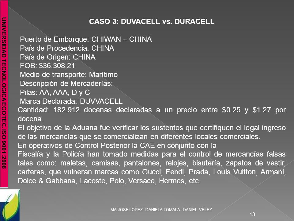 CASO 3: DUVACELL vs. DURACELL