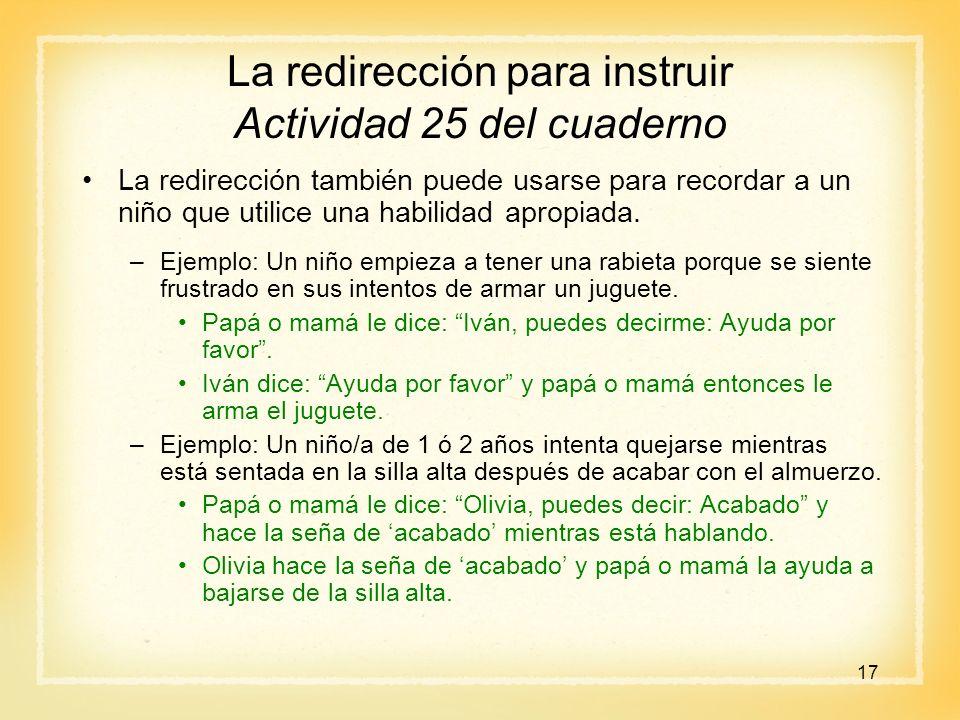 La redirección para instruir Actividad 25 del cuaderno