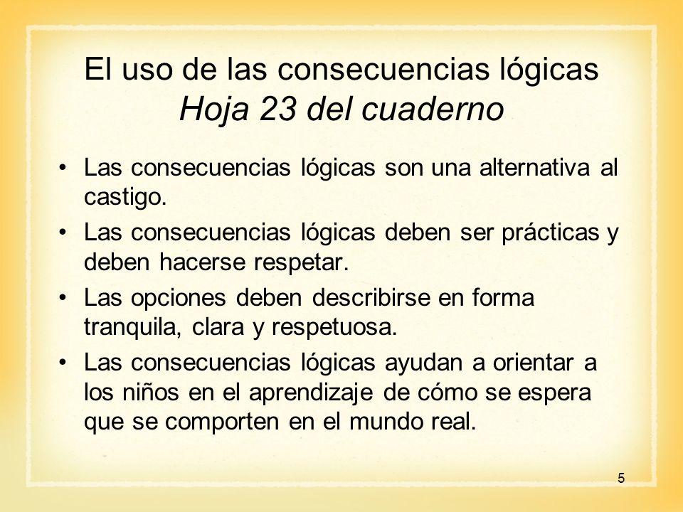 El uso de las consecuencias lógicas Hoja 23 del cuaderno