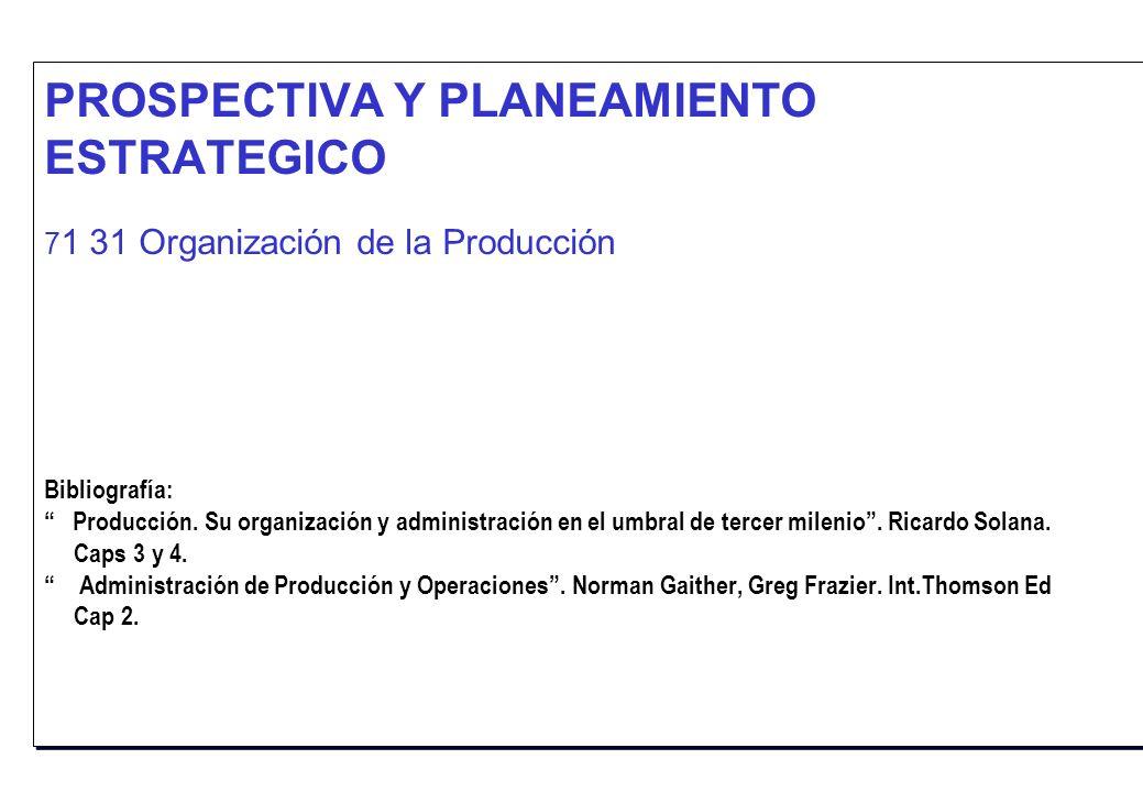 PROSPECTIVA Y PLANEAMIENTO ESTRATEGICO 71 31 Organización de la Producción Bibliografía: Producción.