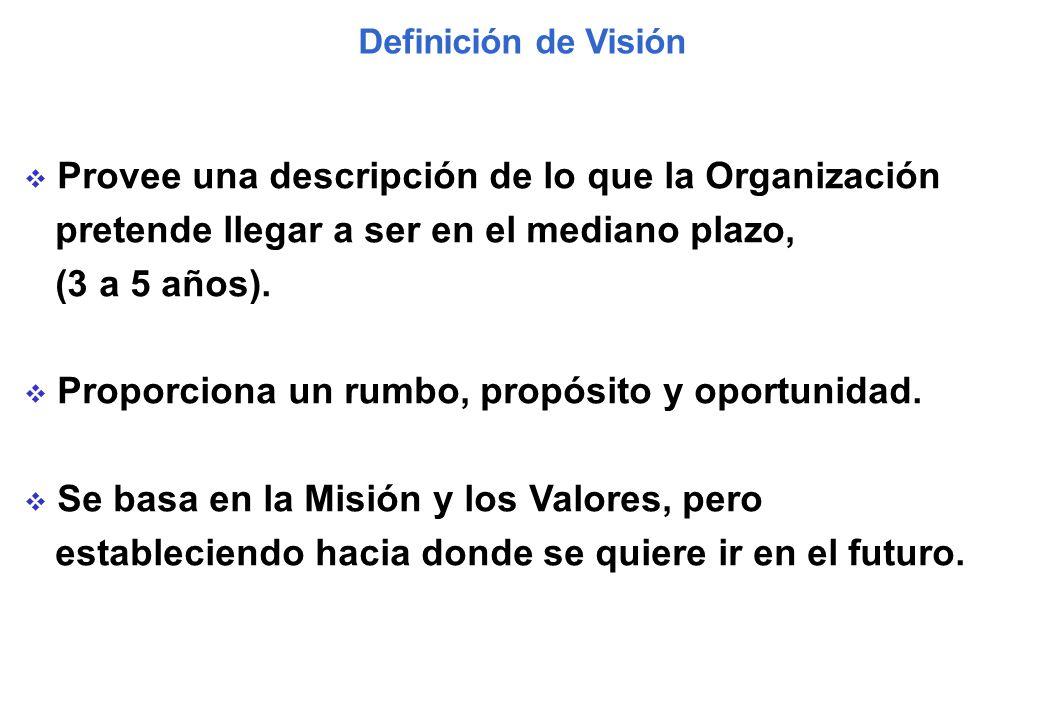 Provee una descripción de lo que la Organización