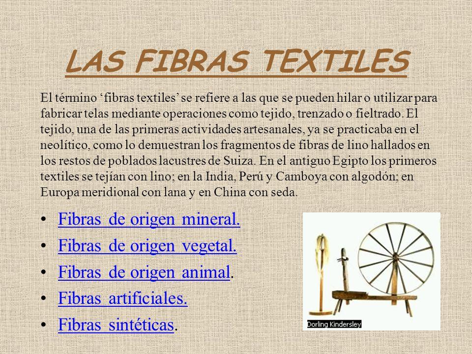 LAS FIBRAS TEXTILES Fibras de origen mineral.