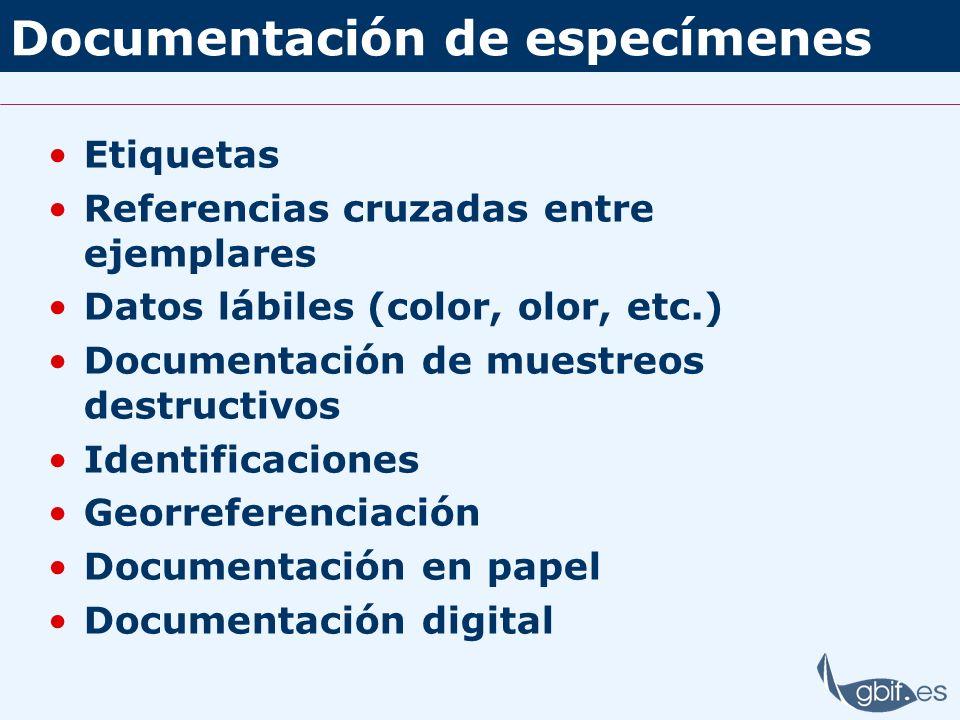 Documentación de especímenes