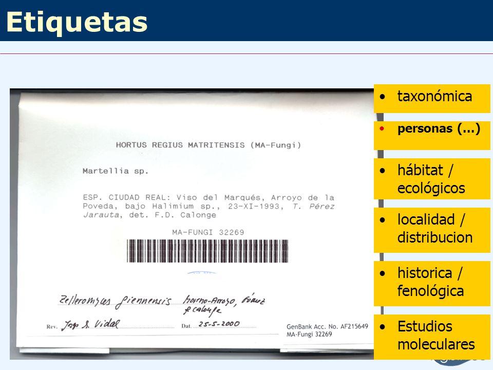 Etiquetas taxonómica hábitat / ecológicos localidad / distribucion
