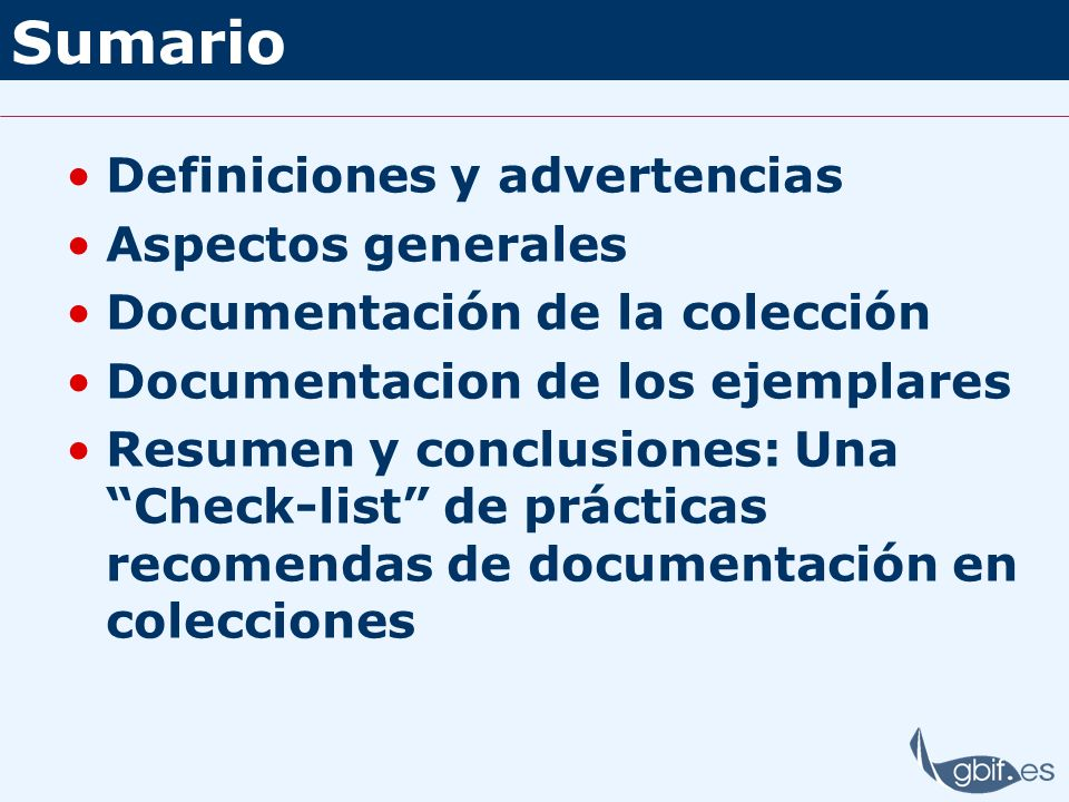 Sumario Definiciones y advertencias Aspectos generales