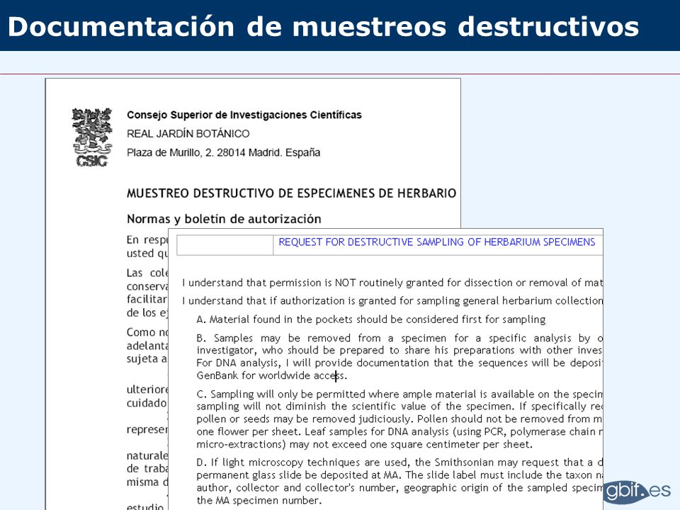 Documentación de muestreos destructivos