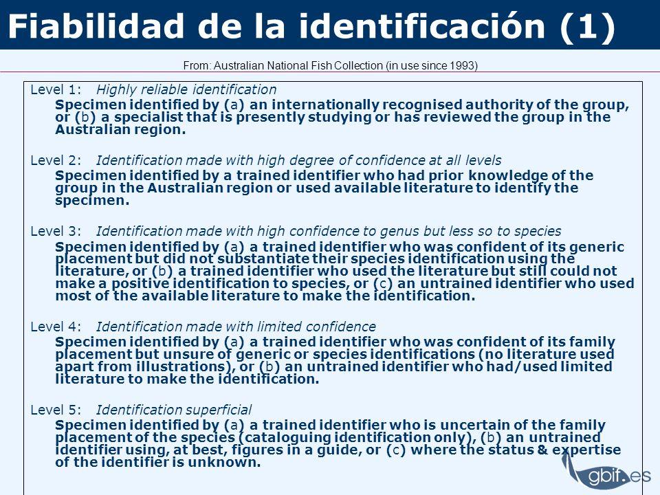 Fiabilidad de la identificación (1)