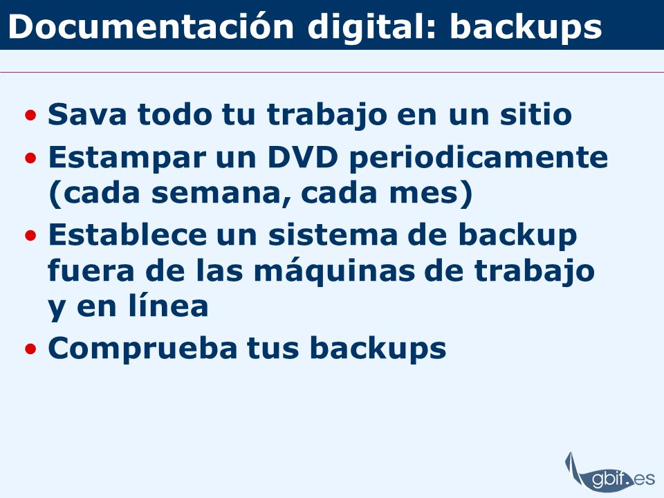 Documentación digital: backups